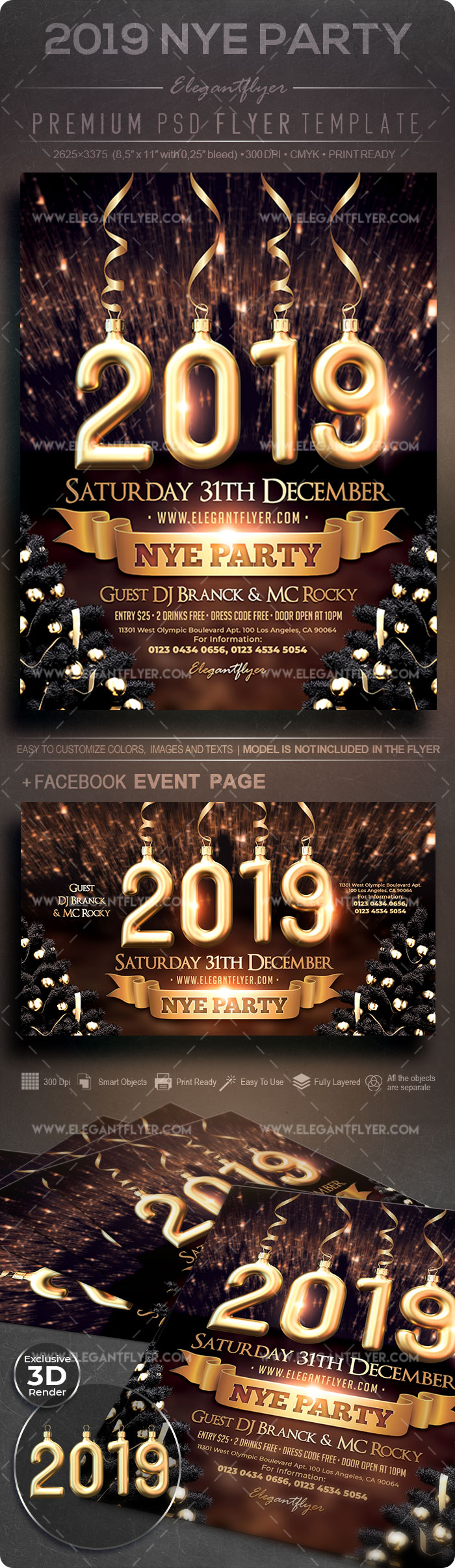 2019 NYE Party – Flyer PSD Template