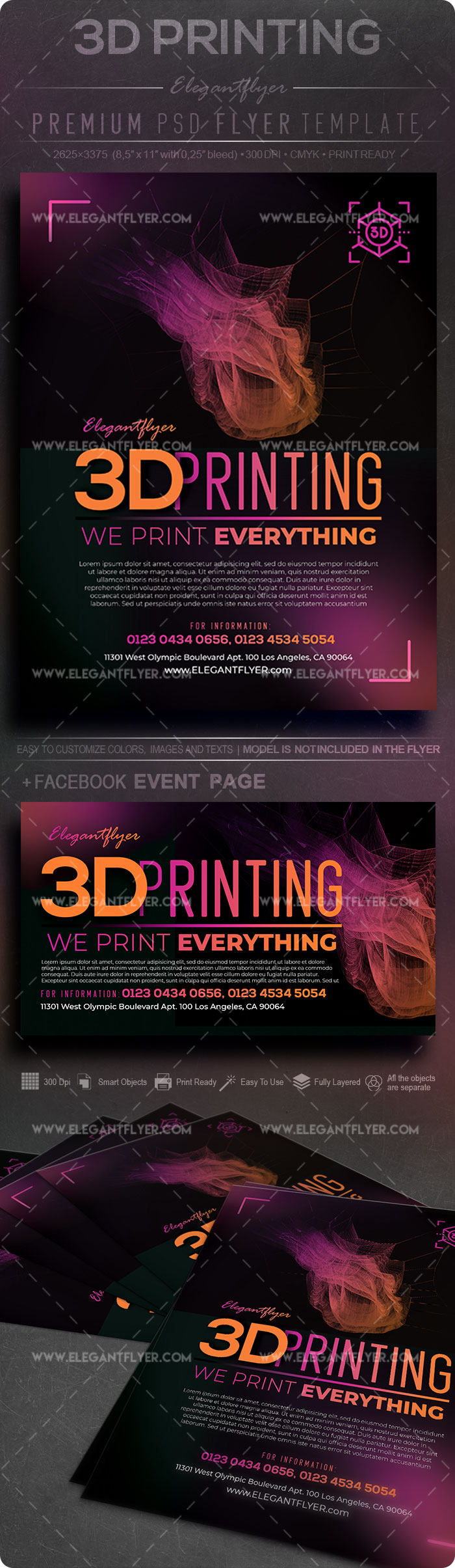 3D Printing – Flyer PSD Template