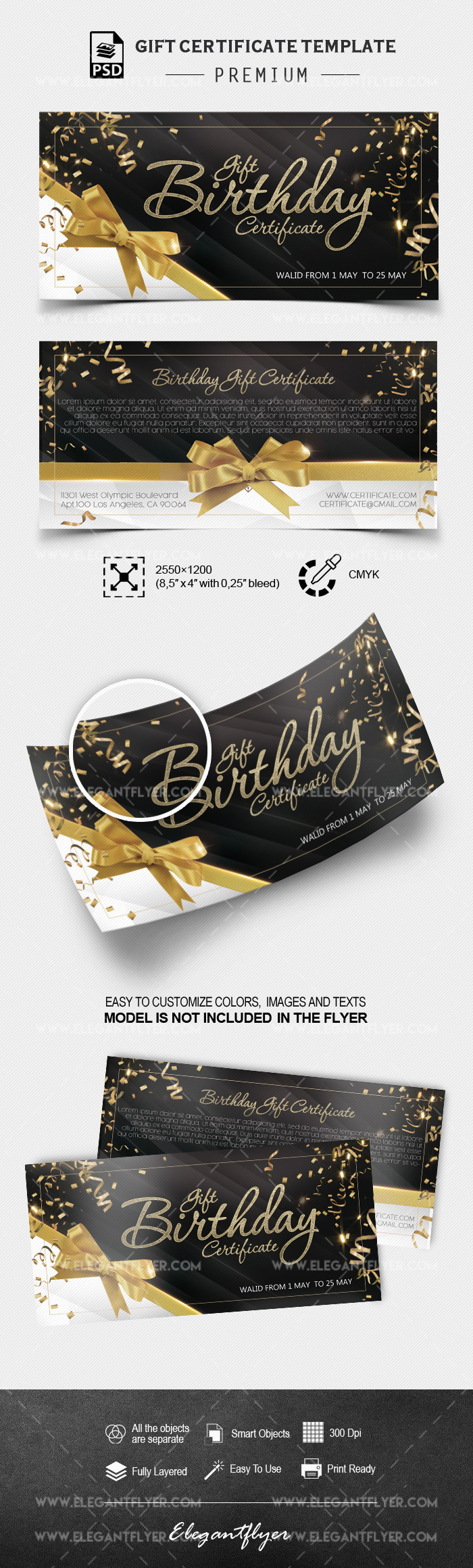 Birthday Gift Certificate – PSD Template