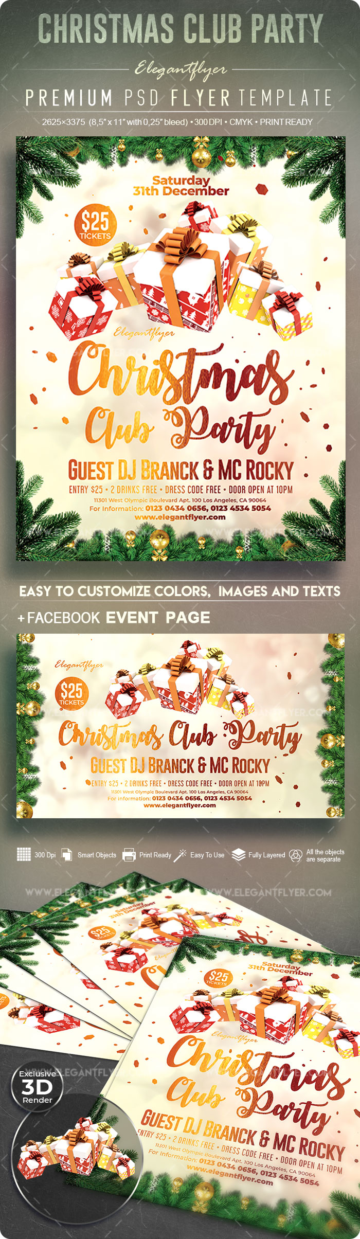 Christmas Club Party – Flyer PSD Template