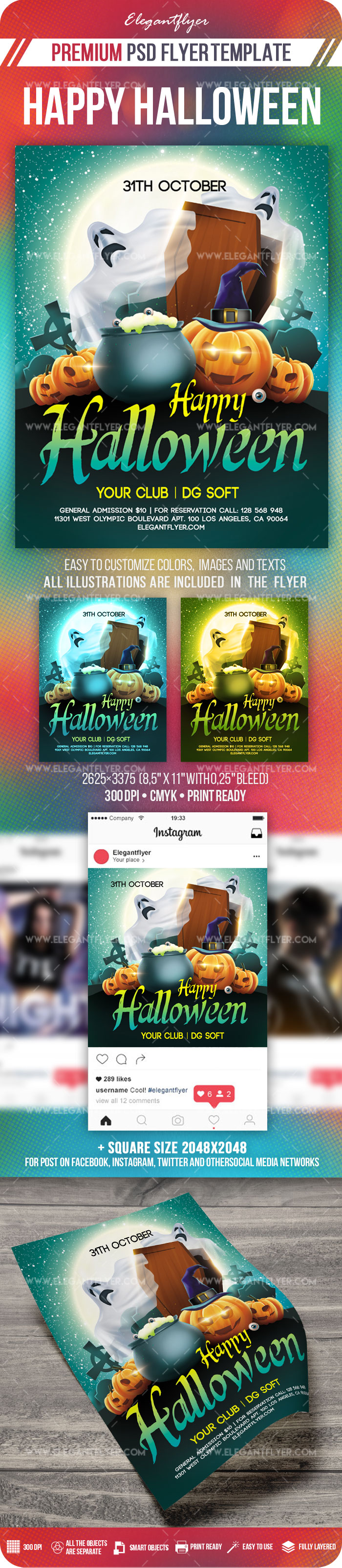 Happy Halloween – Flyer PSD Template + Instagram template