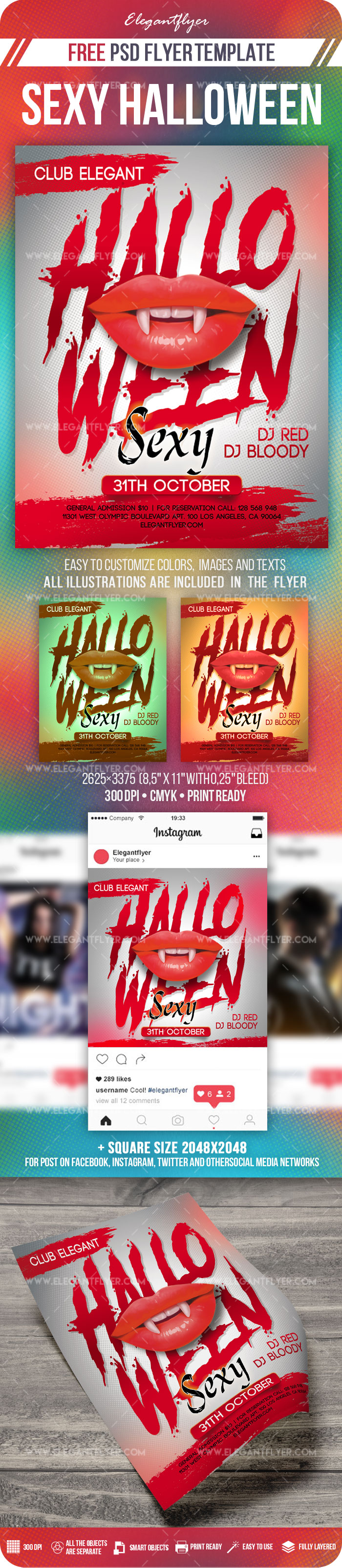 Sexy Halloween – Flyer PSD Template + Instagram template