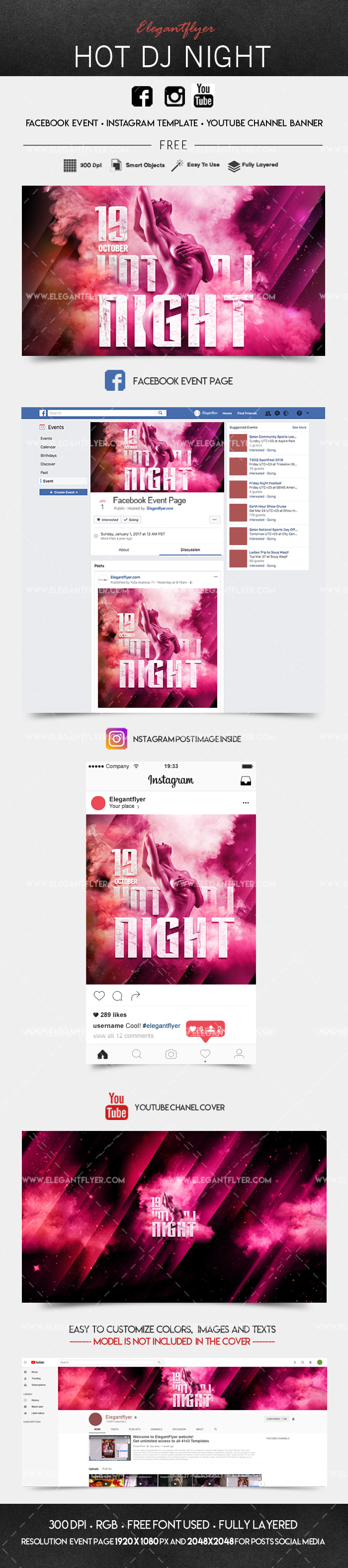 Hot Dj Night – Free Facebook Event + Instagram template + Youtube Channel Banner