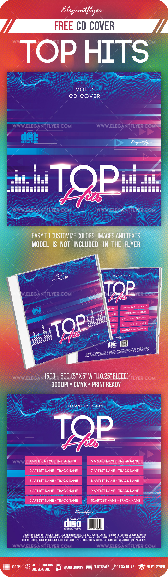 Top Hits – Free PSD CD Cover Template