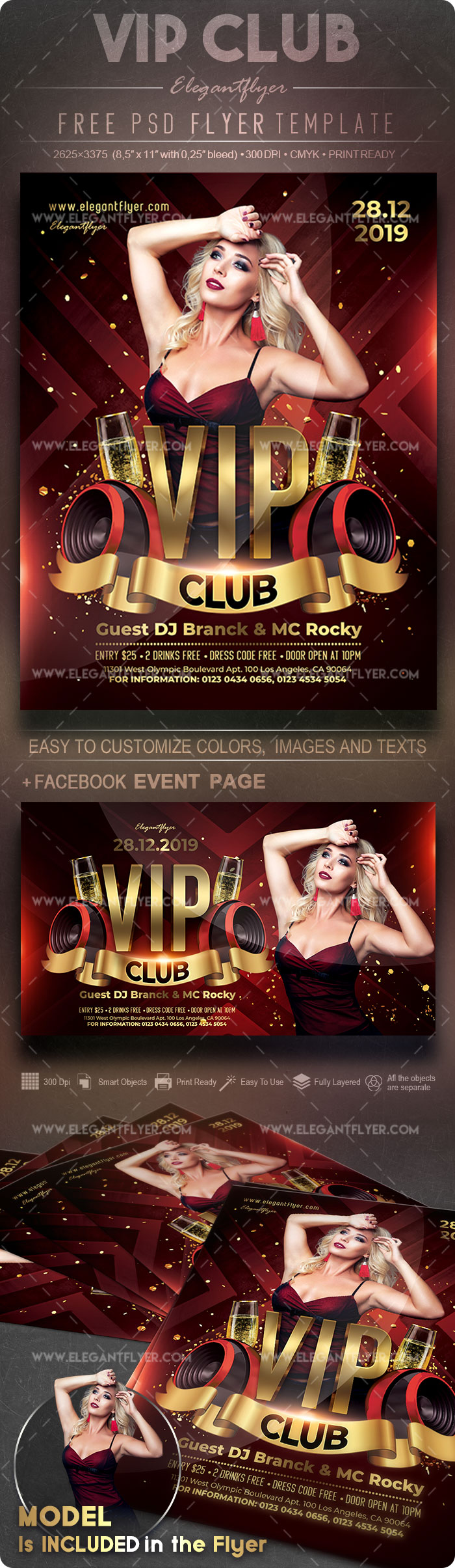 VIP Club – Free Flyer PSD Template