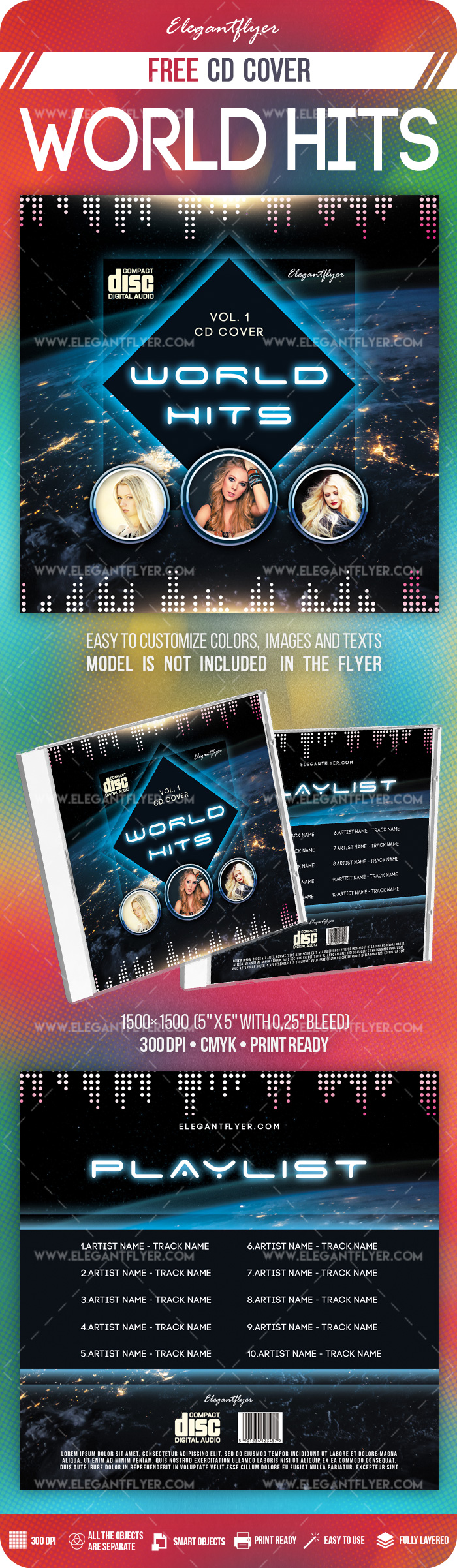 World Hits – Free PSD CD Cover Template