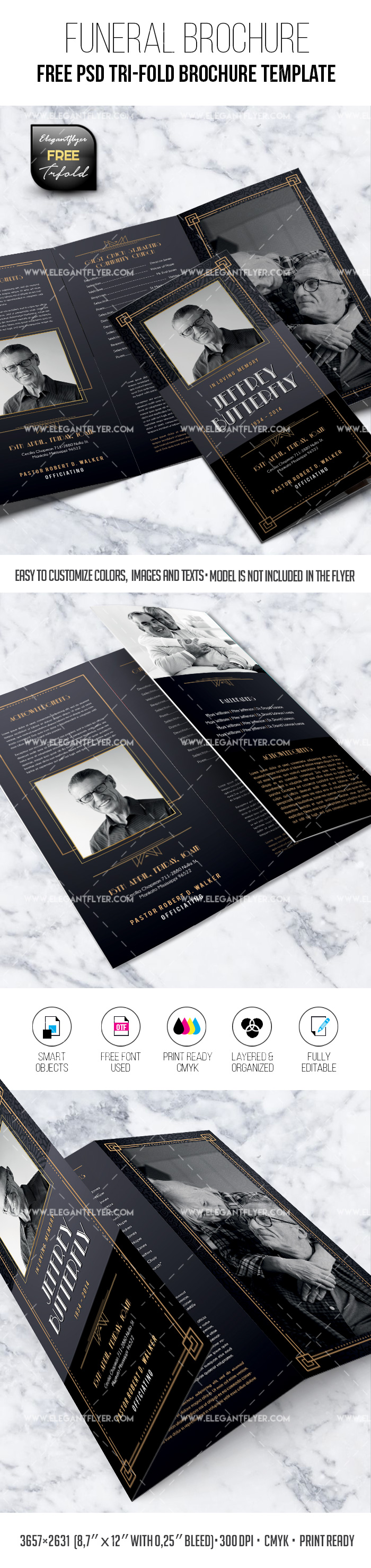 Celebration of Life – PSD Free Tri-Fold Brochure
