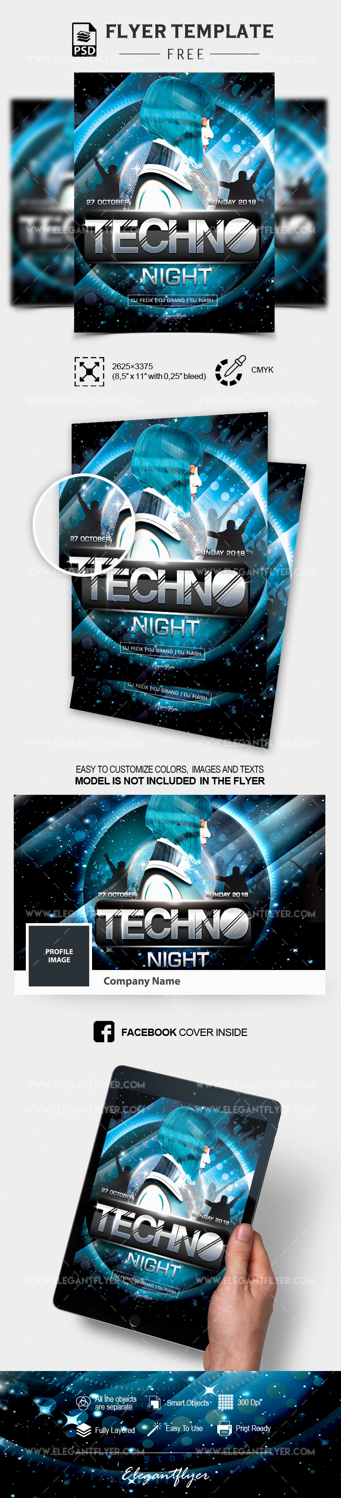 Techno Night  – Free PSD Flyer Template