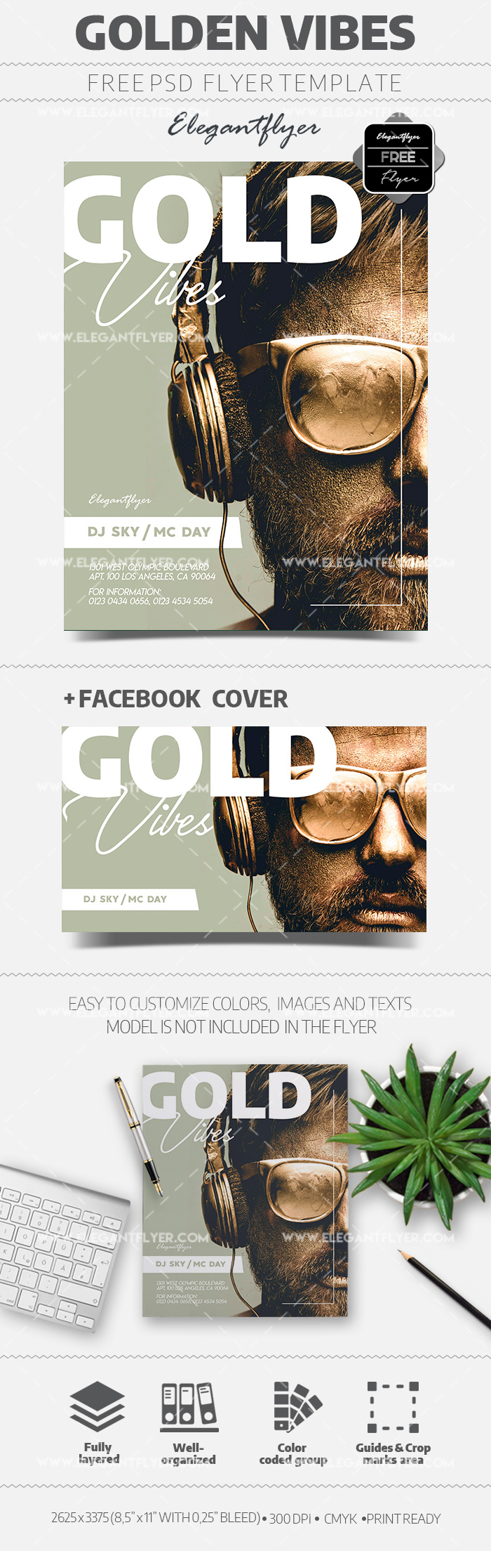 Golden Vibes Free PSD Flyer