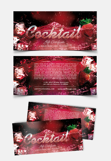 Cocktail Gift Certificate – PSD Template
