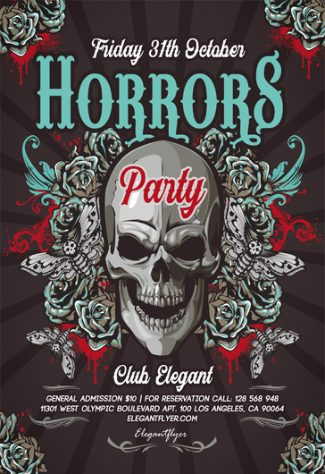 Horrors Party – Free Flyer PSD Template + Instagram template