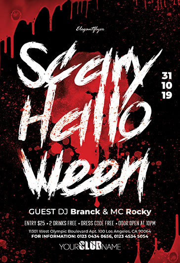 scary halloween free flyer psd template