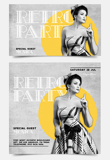 Retro Party – Facebook Event + Instagram template + YouTube