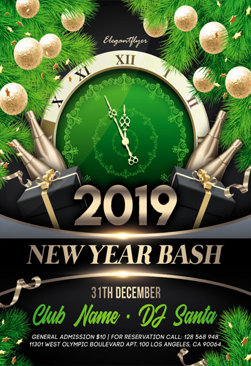 New Year Bash – Flyer PSD Template + Instagram template