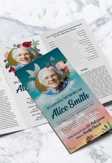 Free Invitation Trifold Brochure for Funeral in PSD