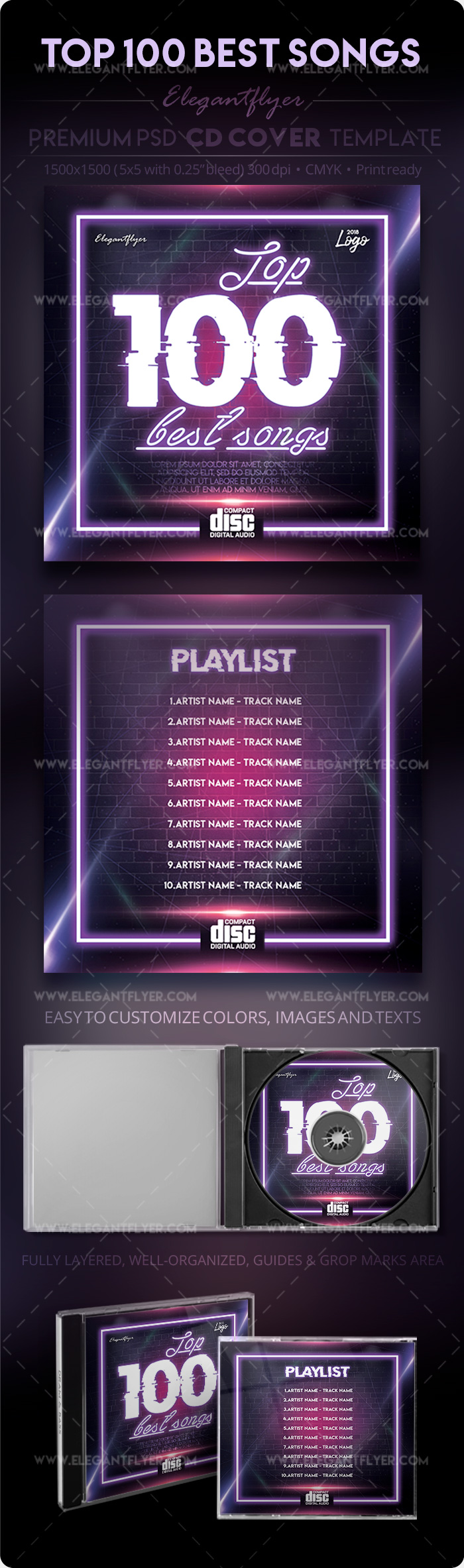 TOP 100 Best Songs – Premium PSD CD Cover