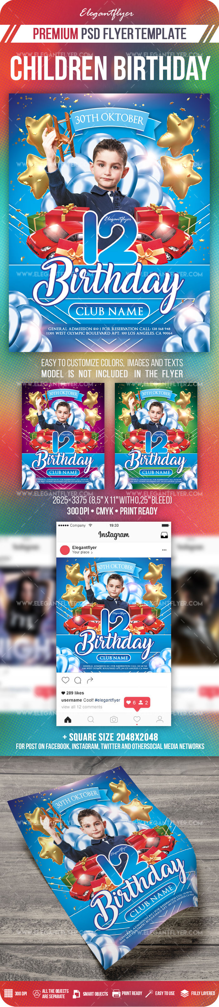 Children Birthday – Flyer PSD Template + Instagram template