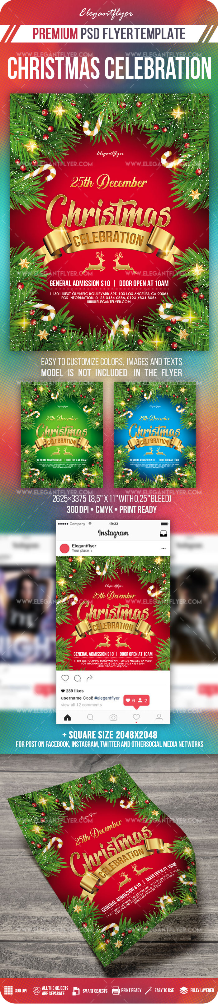 Christmas Celebration – Flyer PSD Template + Instagram template