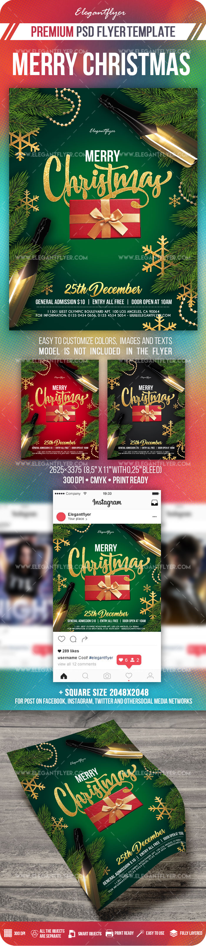 Merry Christmas – Flyer PSD Template + Instagram template