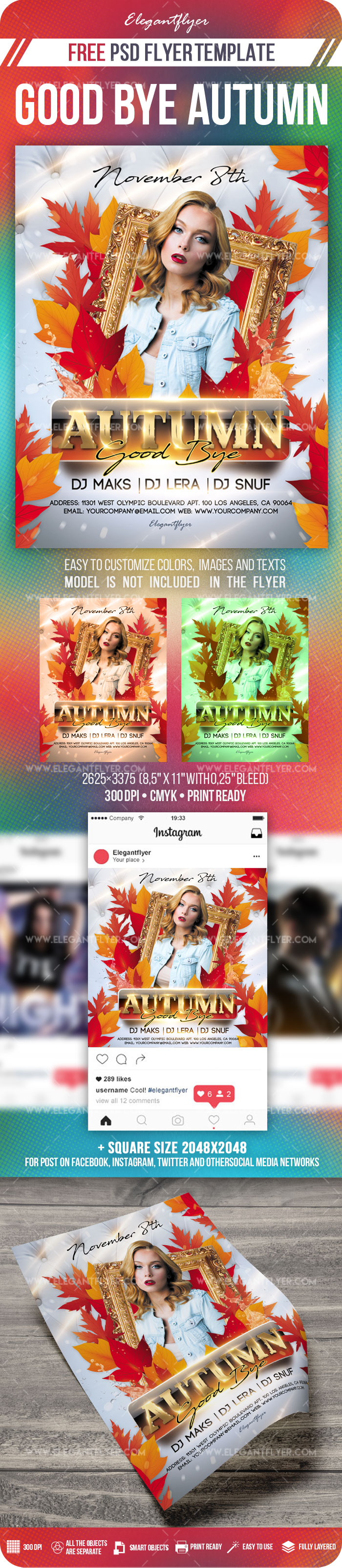 Good Bye Autumn – Free Flyer PSD Template + Instagram template