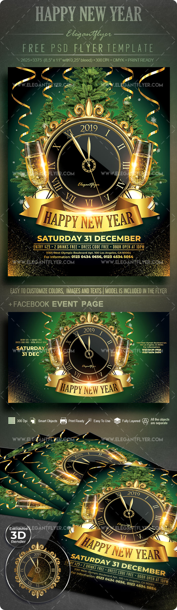 Happy New Year – Free Flyer PSD Template