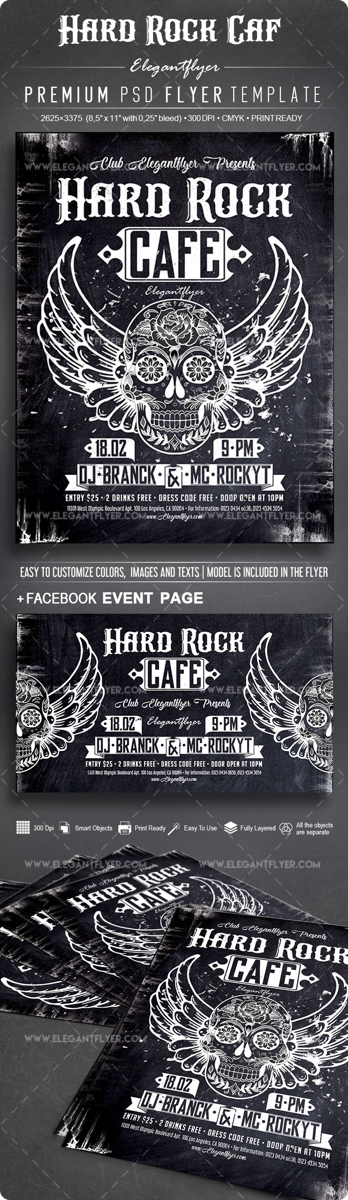 Hard Rock Café – Flyer PSD Template