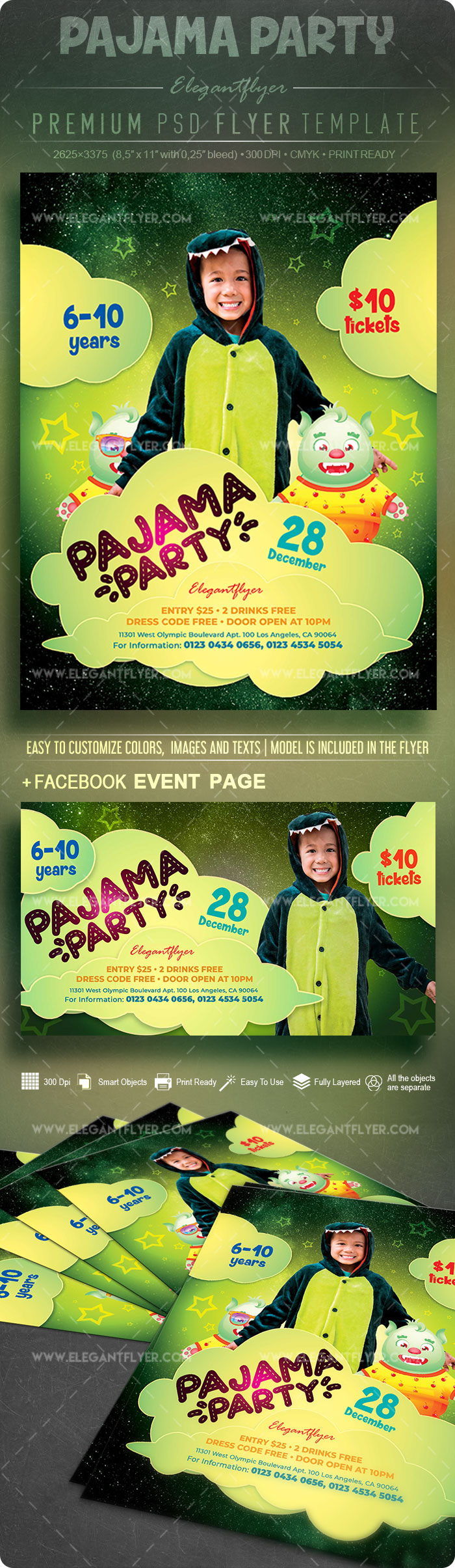 Pajama Party – Flyer PSD Template
