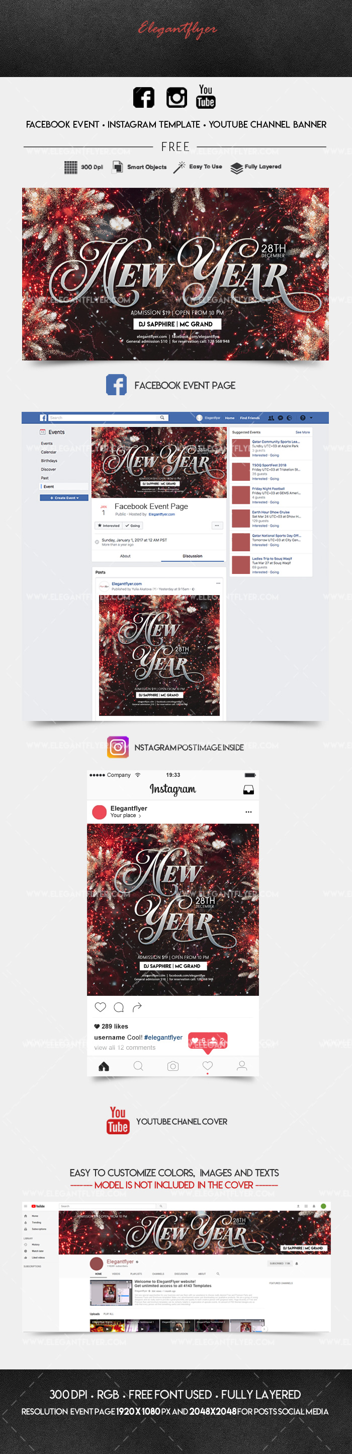 New Year Party – Facebook Event + Instagram template + Youtube Channel Banner