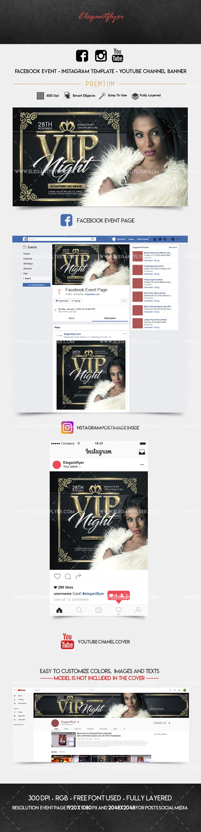 VIP Event – Facebook Event + Instagram template + YouTube