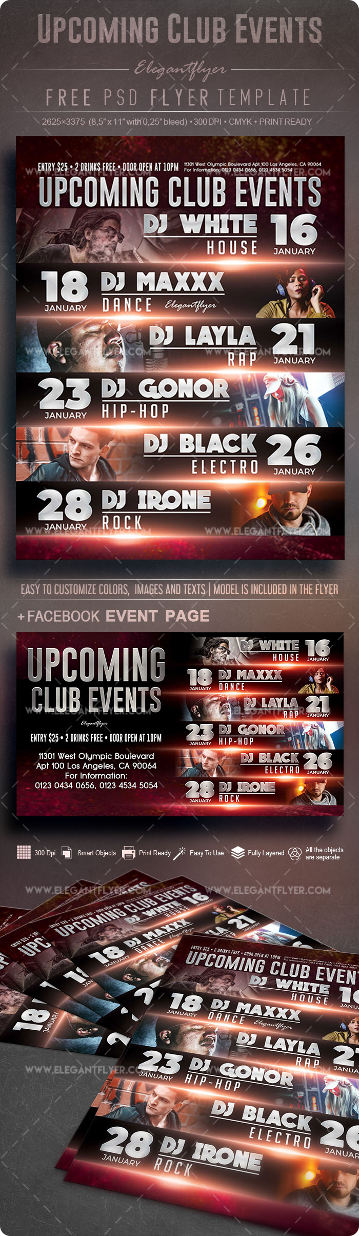 Upcoming Club Events – Free Flyer PSD Template
