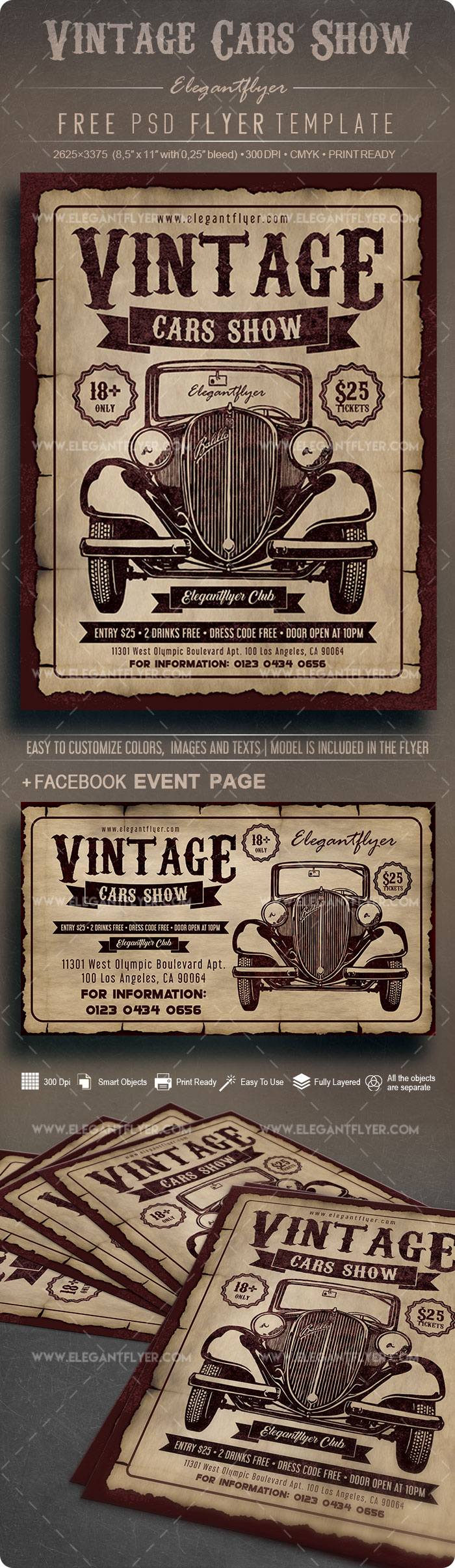 Vintage Cars Show – Free Flyer PSD Template