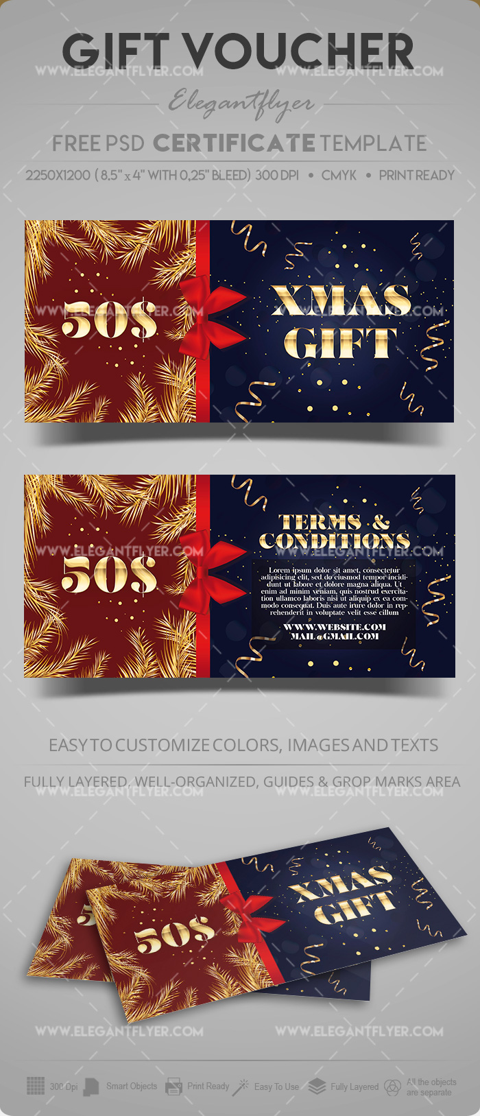 Christmas Discount – Free Gift Certificate in PSD