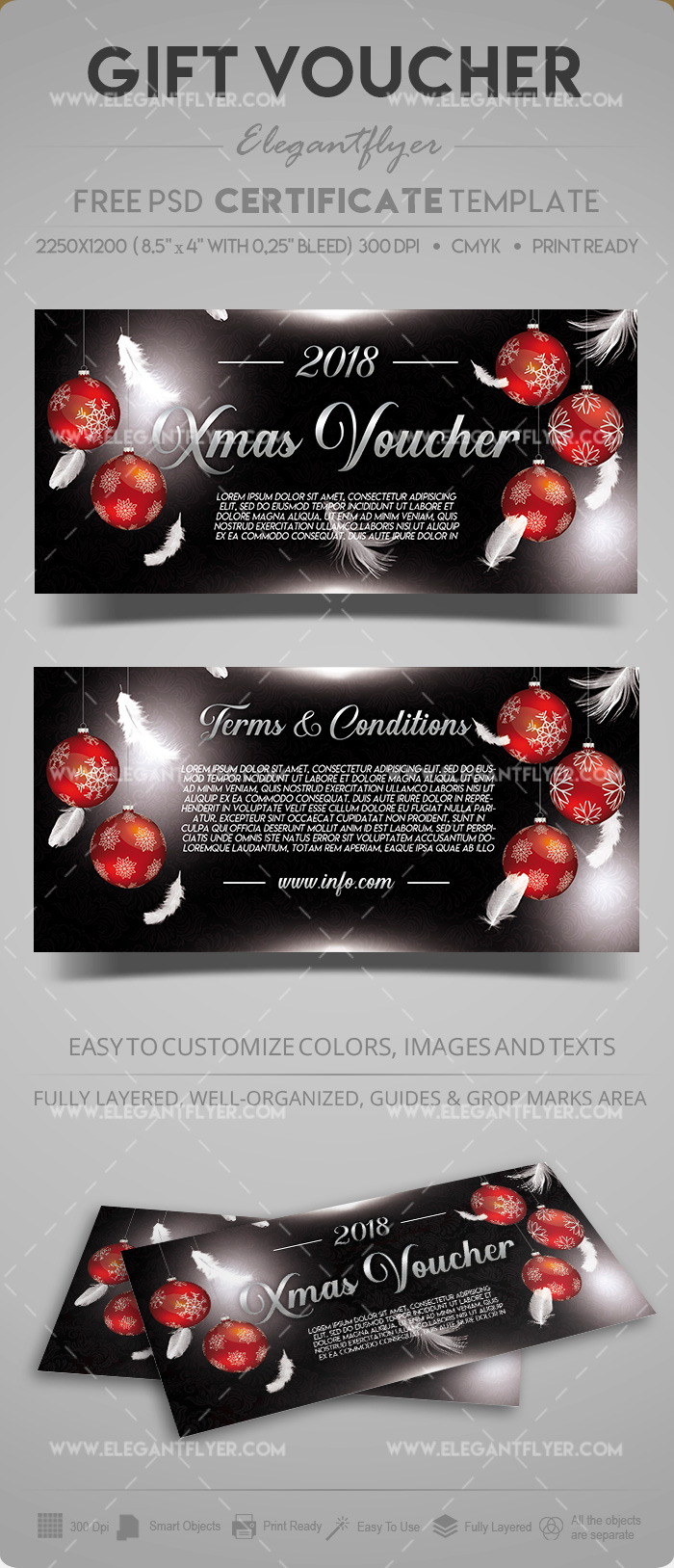 Free Xmas Gift Voucher in PSD