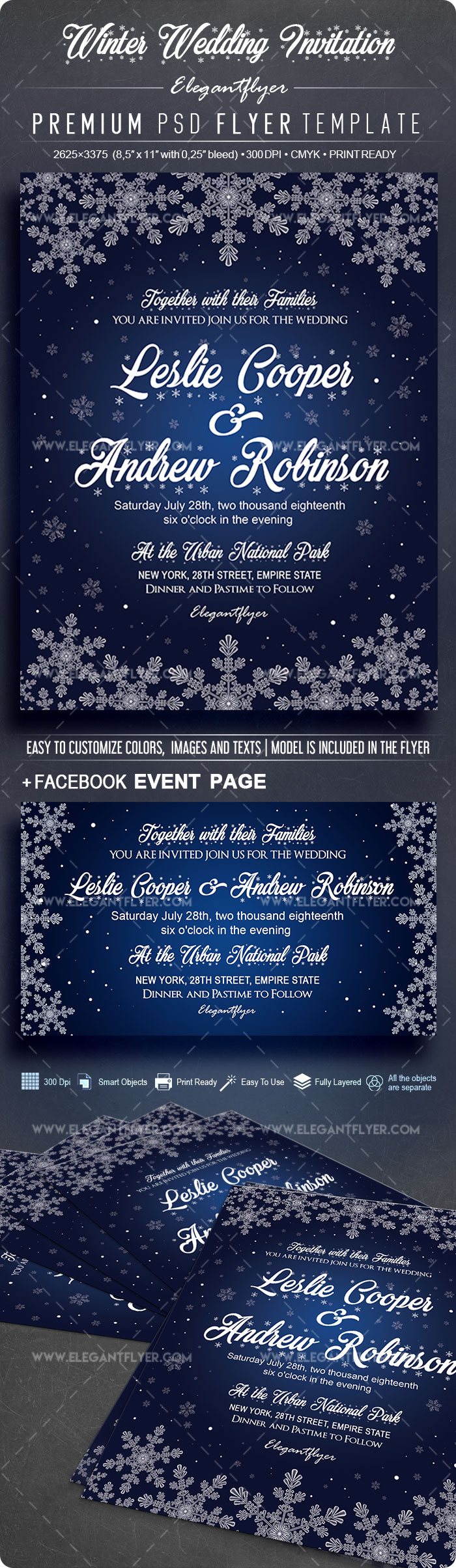 Winter Wedding Invitation – Flyer PSD Template