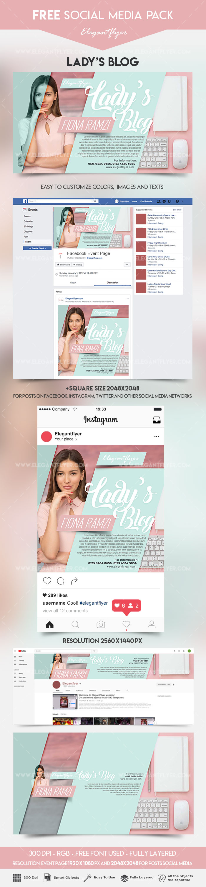 Lady's Blog – Free Facebook Event + Instagram Template + YouTube Channel