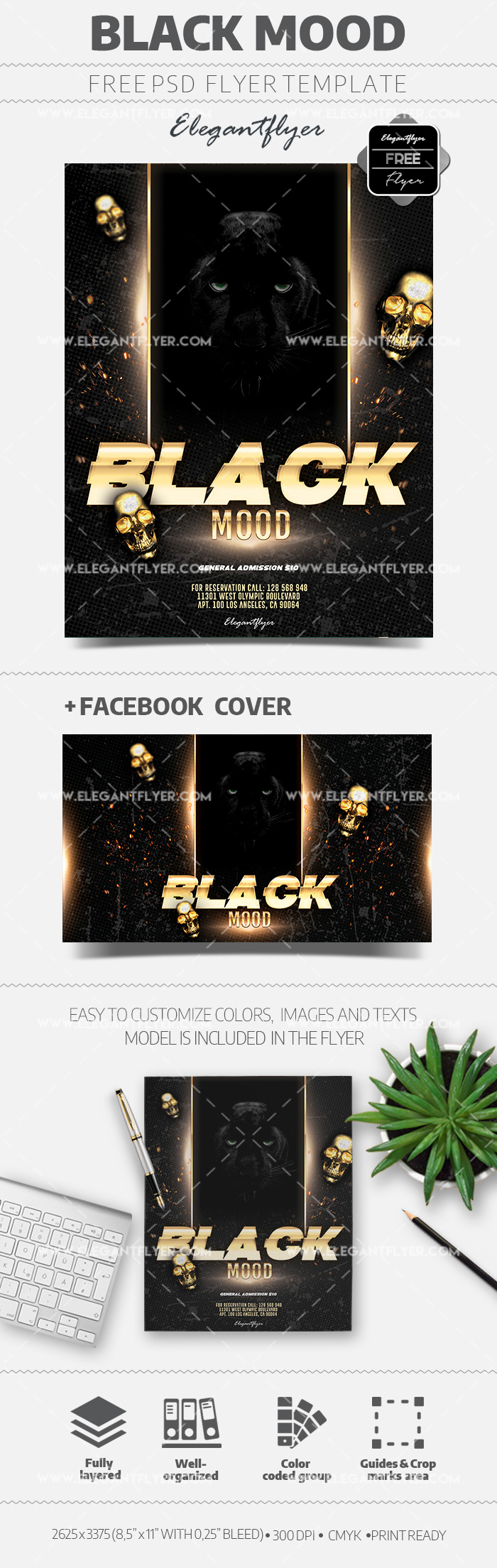 Black Mood Party – Free PSD Flyer Template
