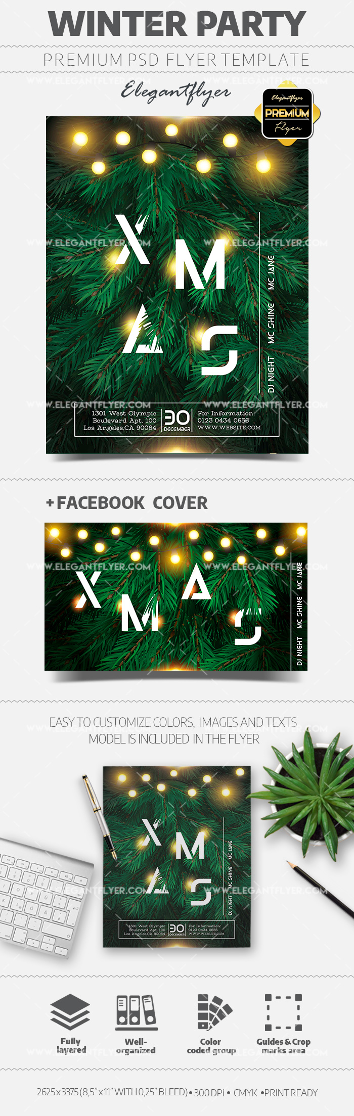 Winter Party Flyer PSD Template