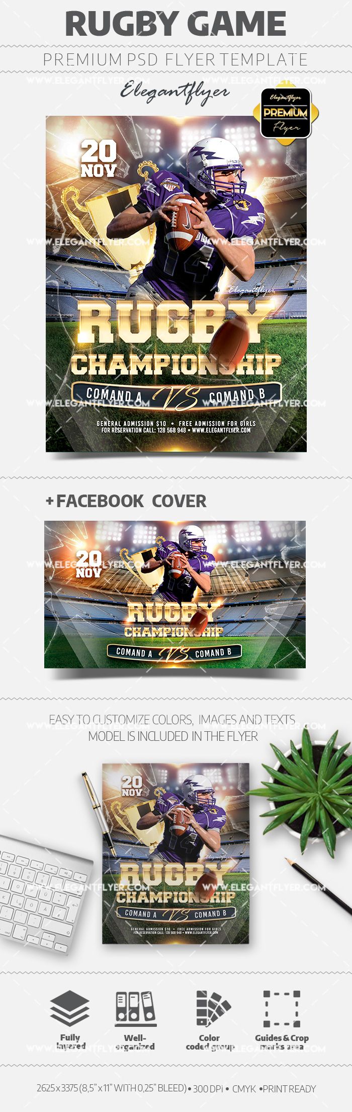 Rugby Game Flyer PSD Flyer Template