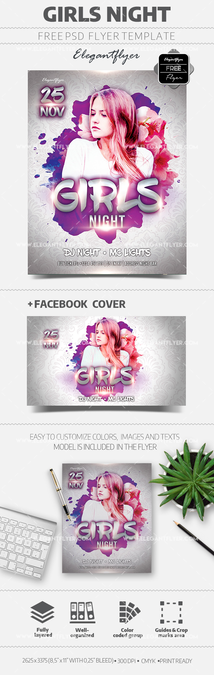 Girls Night – Free Flyer Template in PSD
