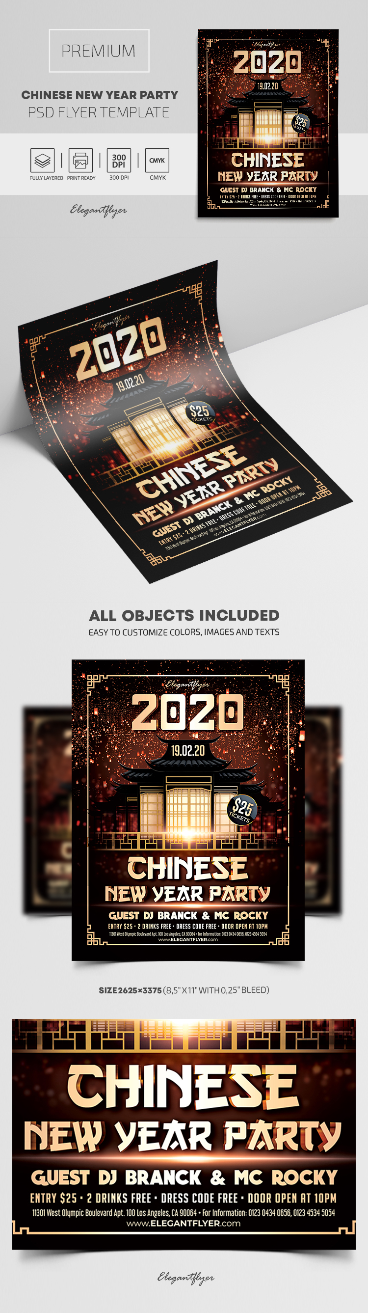 2020 Chinese New Year Party – Flyer PSD Template