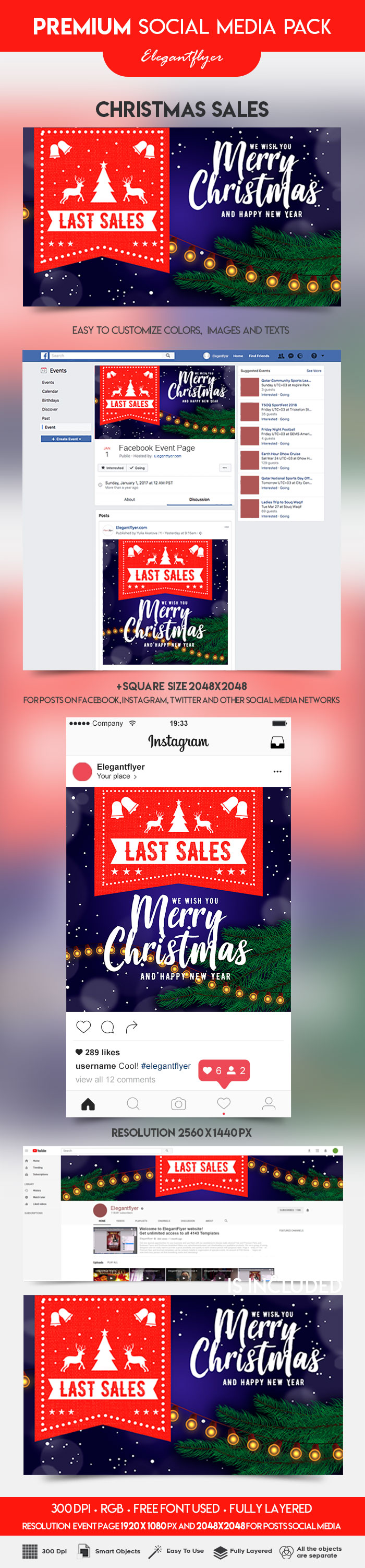 Christmas Sale – Facebook Event + Instagram Template + YouTube Channel Banner