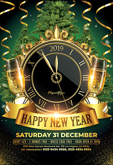 happy new year free flyer psd template