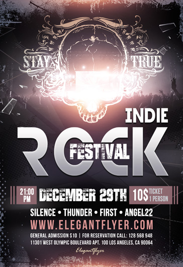 Indie Rock Festival – Flyer PSD Template