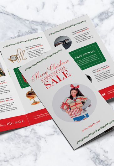Christmas Sales – Tri-Fold Brochure PSD Template