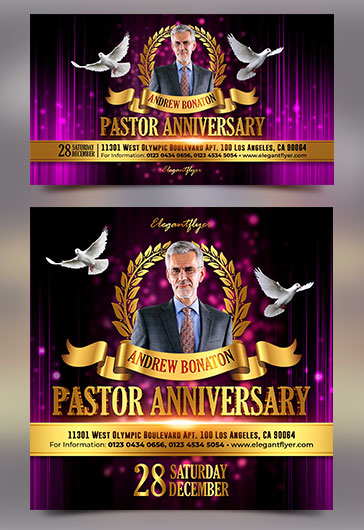Pastor Anniversary – Facebook Event + Instagram template + Youtube Channel Banner