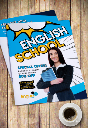 School of English PSD Bi-Fold Brochure