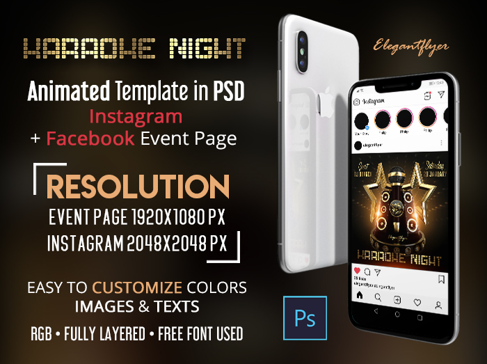 Karaoke Night – Free Animated Instagram + Facebook Flyer Template