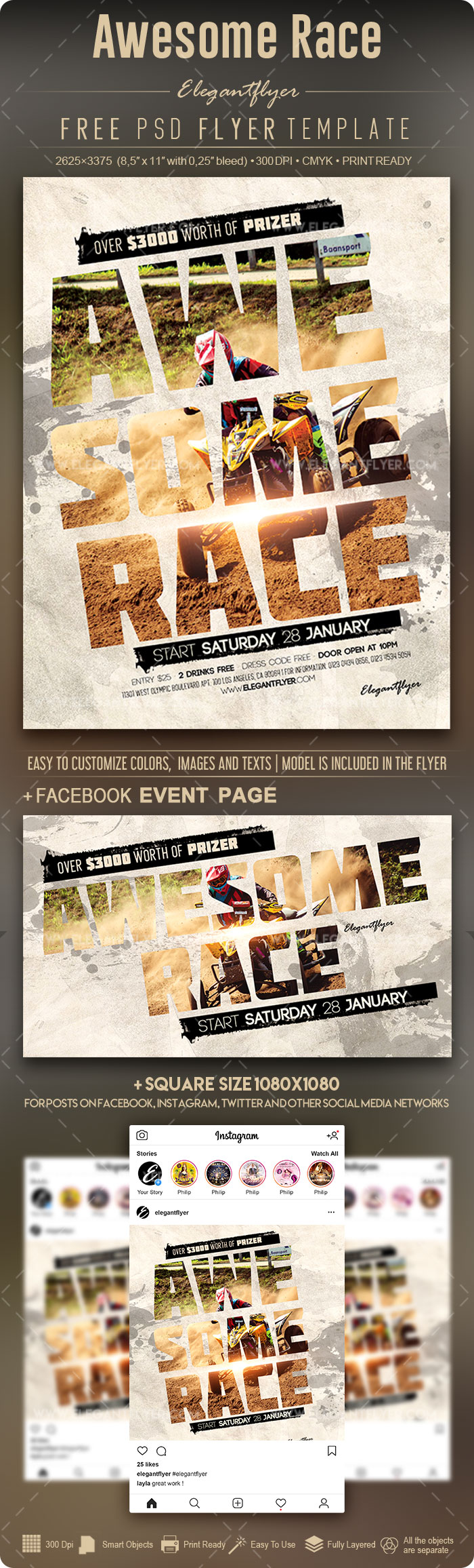 Awesome Race – Free Flyer PSD Template