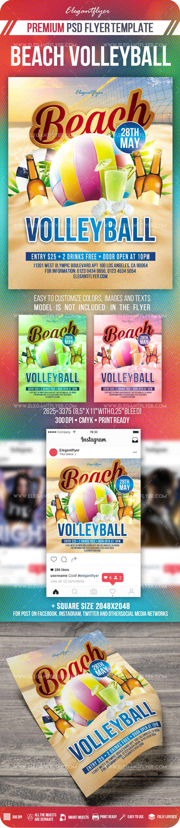 Beach Volleyball – Flyer PSD Template + Instagram template