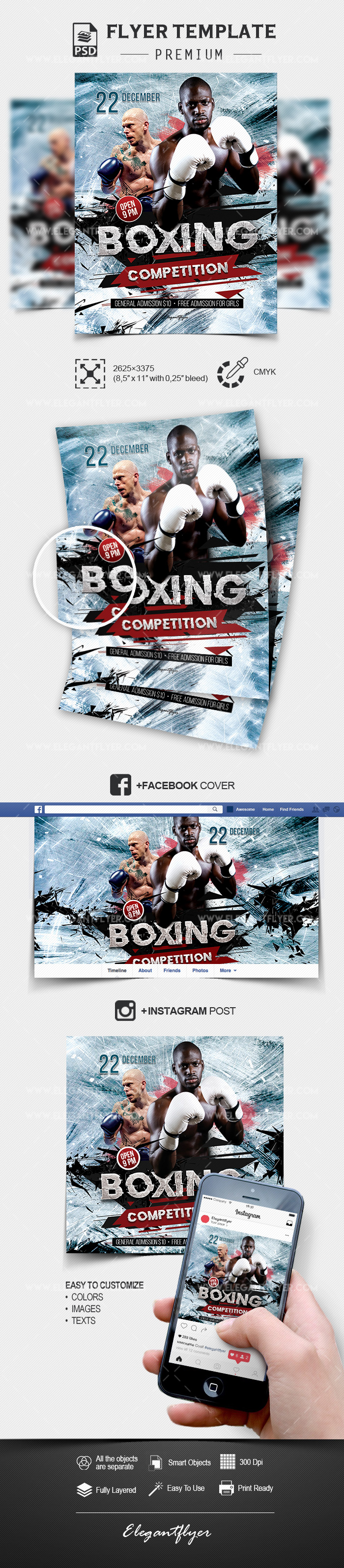 Boxing competition – Flyer PSD Template